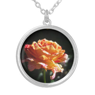 Collar plateado color de rosa, de plata tricolor h