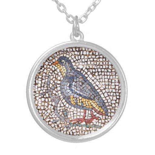 Collar plateado de la plata esterlina del mosaico