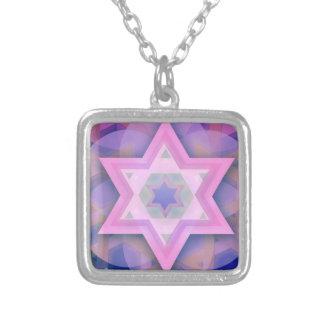 Collar plateado plata judía de la estrella