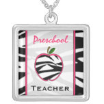 Collar preescolar de Apple del estampado de zebra