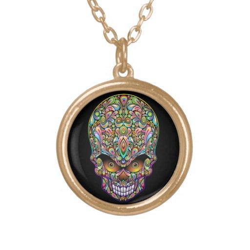 Collar psicodélico del diseño del arte del cráneo
