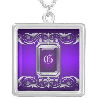 Collar púrpura de la voluta de la plata de la gran