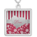 Collar rayado floral del amor del corazón rojo y d