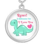 Collar redondo de Rawr del amor lindo del dinosaur