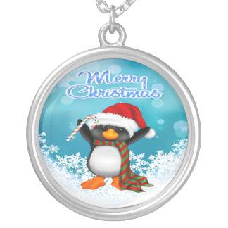 Collar redondo del pingüino de las Felices Navidad