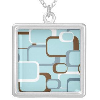 Collar retro azul claro de los cuadrados