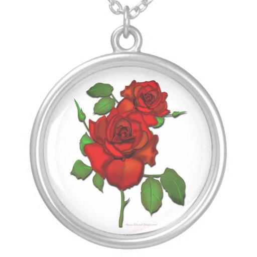 Collar rojo color de rosa del ejemplo