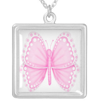 Collar rosado de encargo   de la mariposa