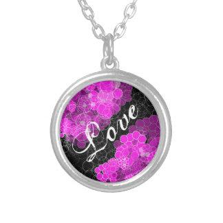 Collar rosado de la flor de la burbuja del amor