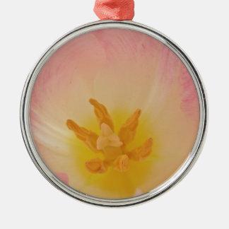 Collar rosado de la flor del tulipán ornamento para arbol de navidad