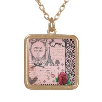 Collar rosado del collage de París del vintage
