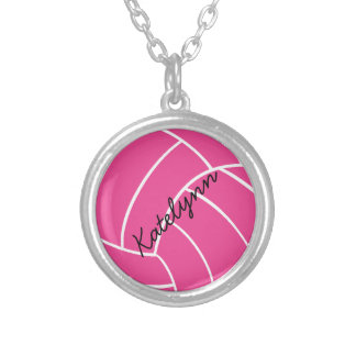 Collar rosado del voleibol del monograma