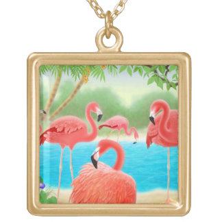 Collar rosado tropical de los pájaros del flamenco