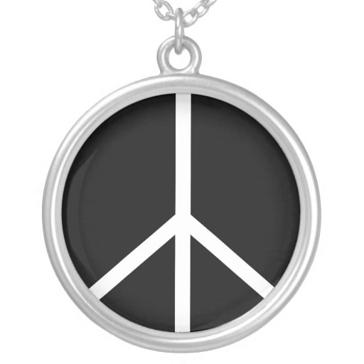 Collar: Signo de la paz de la plata esterlina Colgante Redondo