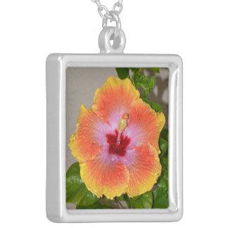 Collar tropical colorido de la flor del hibisco