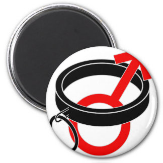 Collared male symbol. 2 inch round magnet