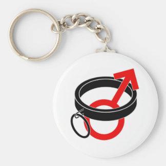 Collared male symbol. basic round button keychain