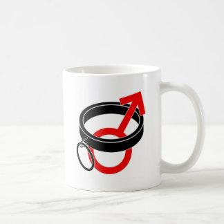 Collared male symbol. classic white coffee mug