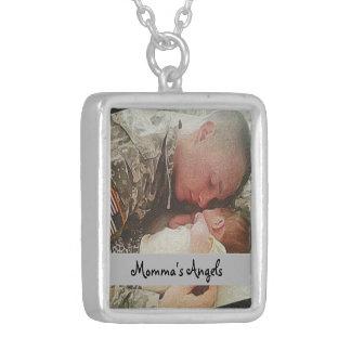 Collares de plata militares del papá y del bebé