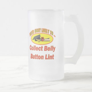 Collect Belly Button Lint Frosted Glass Beer Mug