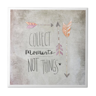 Collect Moments Not Things Small Square Tile