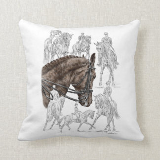 Collected Dressage Horses FEI Throw Pillows