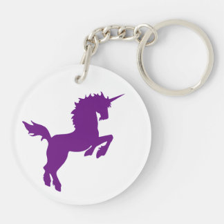 Collectible colors unicorn in Plum Key Ring