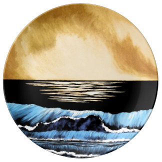 Collectible Ocean Painting Sea Waves Art Collector Porcelain Plate