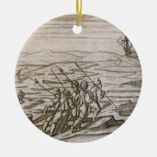 Collecting driftwood for the cabin in which the ex Double-Sided ceramic round christmas ornament
