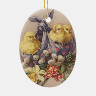 Collecting Easter Chicks Ceramic Ornament