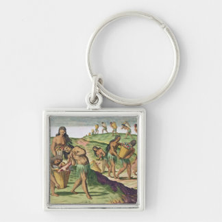 Collecting Food for the Communal Storehouse Silver-Colored Square Keychain