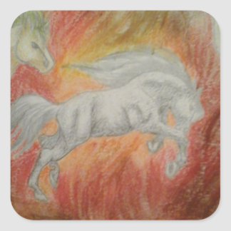 Collection '' Horses and Fire '' Square Sticker