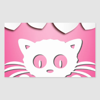 """Collection """"I LOVE CATS"""" Pink Rectangular Sticker"""