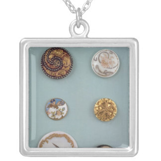 Collection of buttons silver plated necklace
