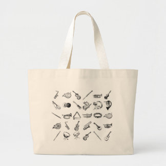 Collection of classical musical instruments tote bag