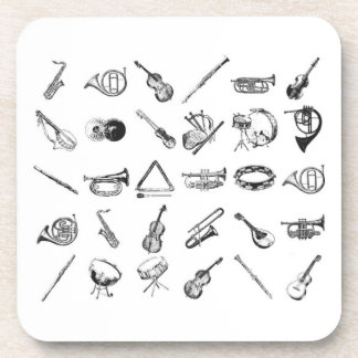 Collection of classical musical instruments beverage coasters