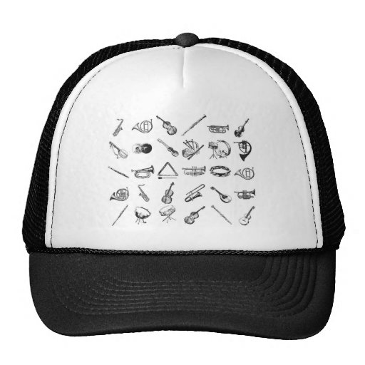 Collection of classical musical instruments mesh hats