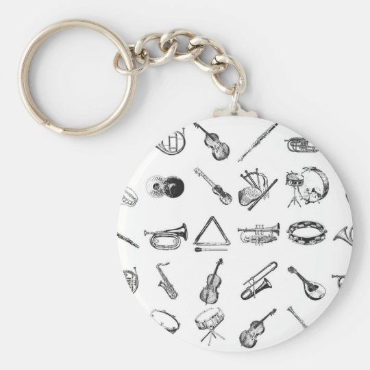 Collection of classical musical instruments keychain