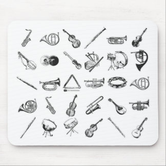 Collection of classical musical instruments mouse pad