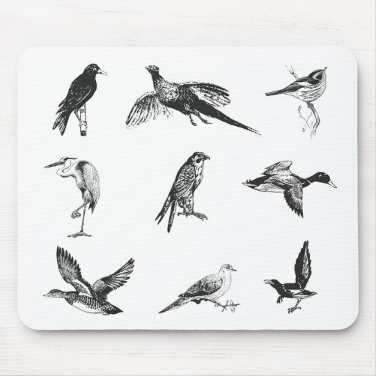 Collection of flying water fowl and birds mouse pad