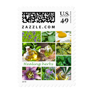 Collection of healing herbs by healing love postage stamp