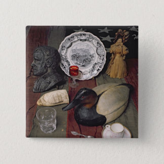 Collection of objects, including a cup pinback button
