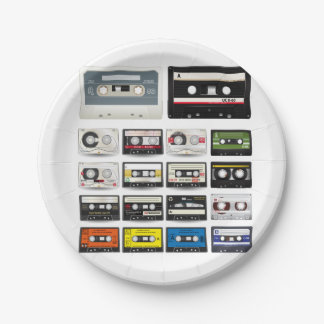 Collection of Retro Audio Cassette Tapes Paper Plate