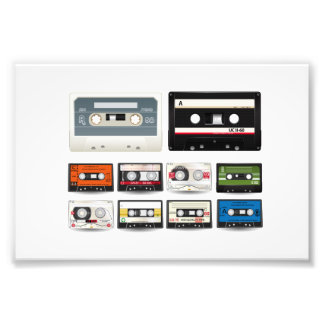 Collection of Retro Audio Cassette Tapes Photo Print