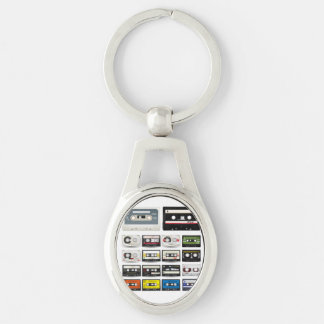 Collection of Retro Audio Cassette Tapes Silver-Colored Oval Metal Keychain