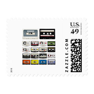 Collection of Retro Audio Cassette Tapes Stamp