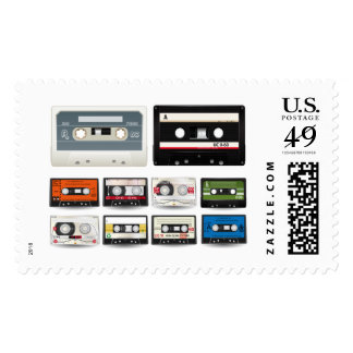 Collection of Retro Audio Cassette Tapes Postage Stamps