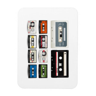 Collection of Retro Audio Cassette Tapes Rectangular Photo Magnet
