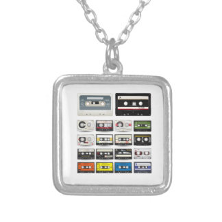 Collection of Retro Audio Cassette Tapes Silver Plated Necklace
