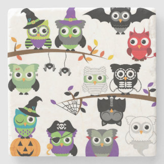 Collection Of Spooky Halloween Owls Stone Beverage Coaster